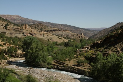 The Ahansal river and the granaries of Amezray.