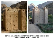 Before and after the restoration of the Ait Sidi Mouh Igherm.