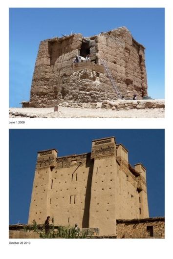 Before and after restoration of the Amezray n Oufila Igherm.