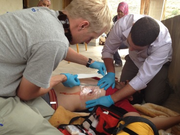 A student treats a patient during class.
