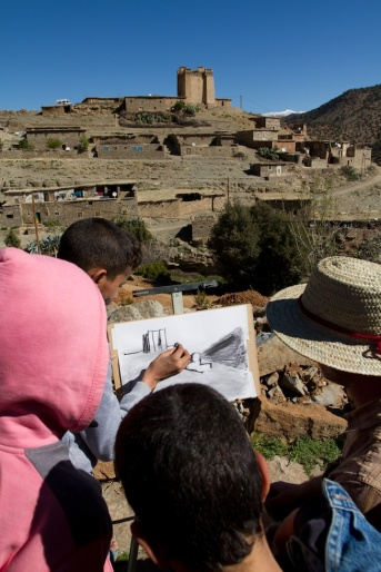 Plein air with students in the village of Amezray.